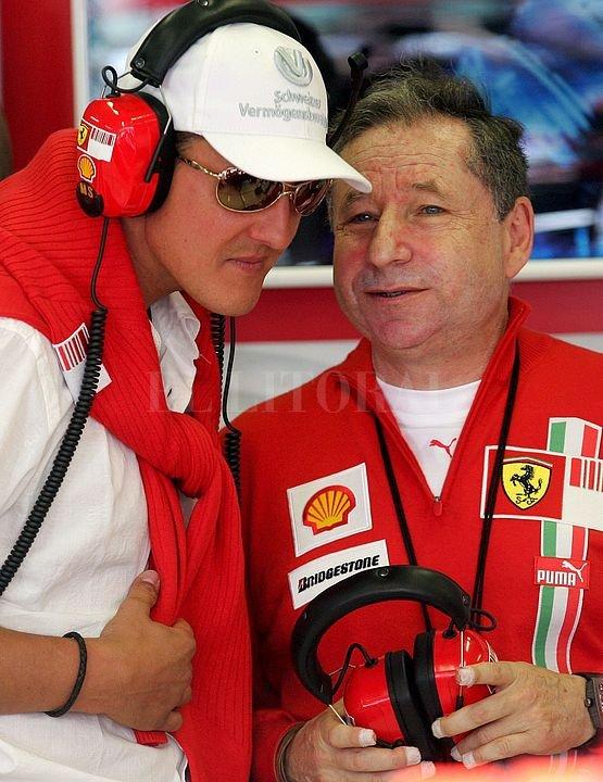 Otros tiempos, cuando el alemán ganaba títulos para Ferrari y el francés (hoy presidente de la FIA) era el jefe de equipo. <strong>Foto:</strong> Archivo El Litoral