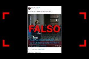Son falsos los subtítulos del video entre Macri y un granadero que publicó Aníbal Fernández