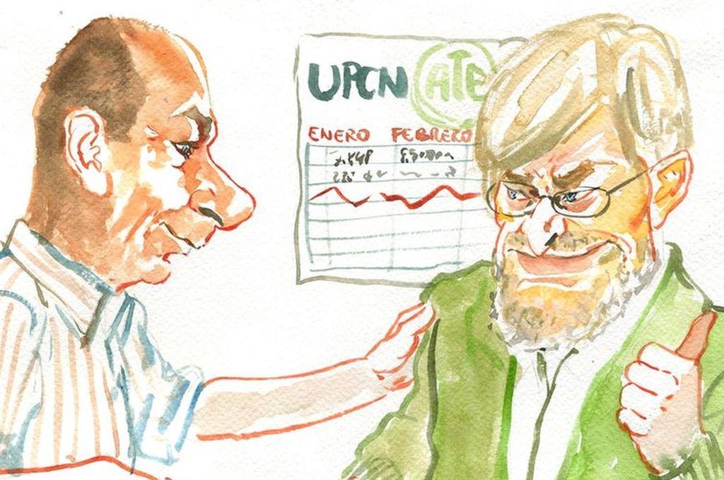 Jorge Molina y Jorge Hoffmann, de UPCN y ATE <strong>Foto:</strong> Ilustración: Lucas Cejas