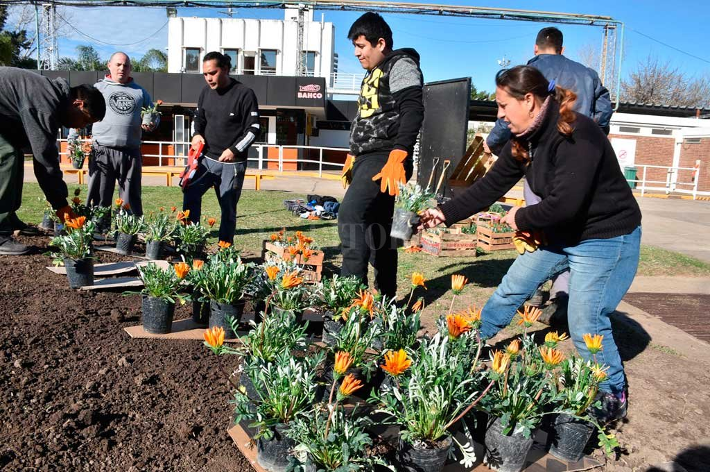 Figuras. El curso de Parquización y Jardinería en Áreas Industriales tuvo como cierre el plantado de flores formando la palabra Bahco. <strong>Foto:</strong> Luis Cetraro