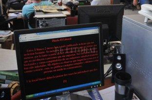 """Libertad condicional   para el hacker """"Líbero"""" - 27 de marzo a las 10.38, se vio este mensaje en la home de la web de El Litoral."""