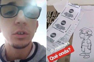 Rodrigo Noya pidió una milanesa y le enviaron el tícket con un dibujo de Milhouse
