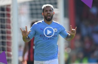 Con dos goles de Agüero, el Manchester City derrotó 3 a 1 al Bournemouth