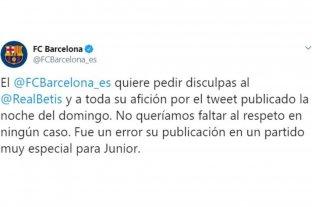 El FC Barcelona publicó un polémico tweet y tuvo que pedir perdón