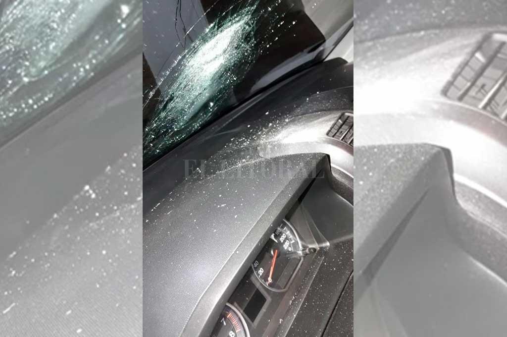 Parabrisas estallado, una postal de los ataques en el inicio de la autopista <strong>Foto:</strong> El Litoral