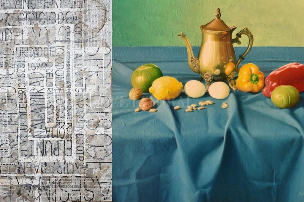 """Amanecer"", acrílico de Sergio Messing, y ""Bodegón con tetera y morrones"", óleo sobre tela de Luis Gervasoni. <strong>Foto:</strong> Gentileza Sara Faisal / LG"