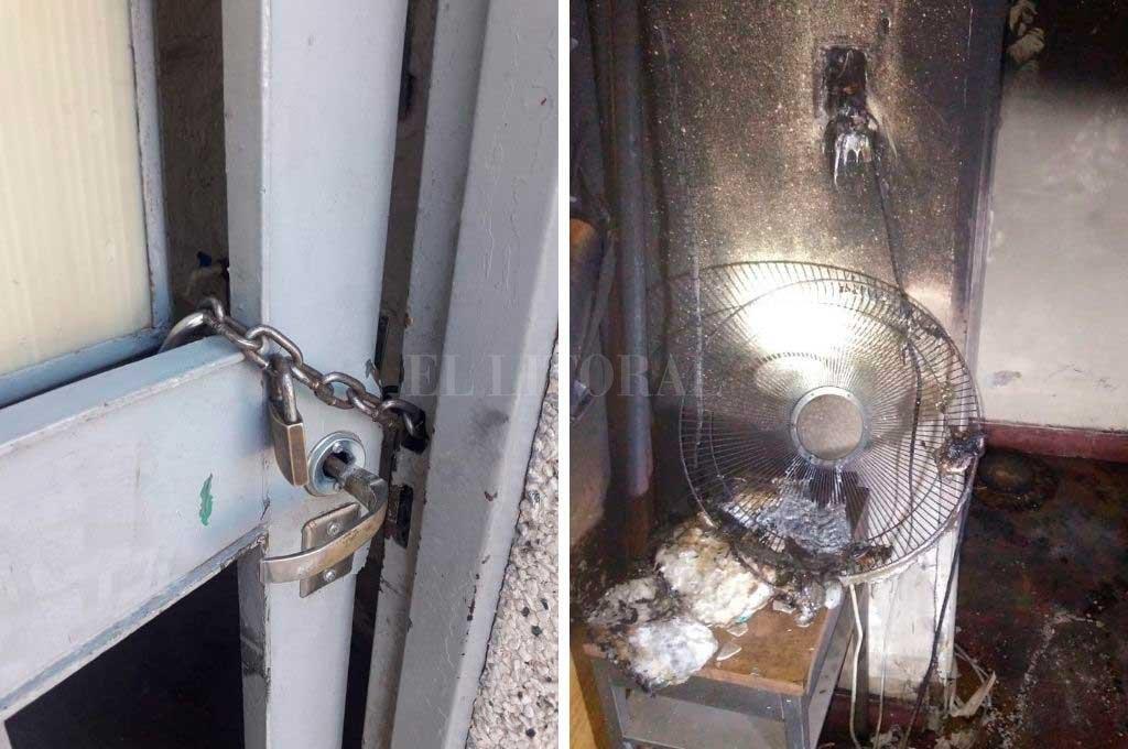 Personal del GOE rompió la cerradura de dos puertas para allanar el camino a los bomberos. (Izq) Todo indica que el fuego comenzó por el recalentamiento de una plancha que quedó enchufada. (Der) <br /> <strong>Foto:</strong> El Litoral