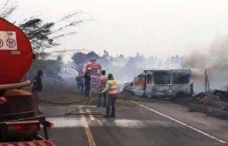Seis muertos en un accidente de tránsito causado por humo de incendios en Brasil