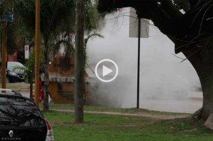 Video: prendieron fuego dentro de un contenedor en la salida de la terminal