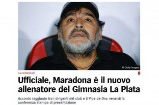Los medios del mundo reflejaron la llegada de Maradona a Gimnasia y Esgrima La Plata