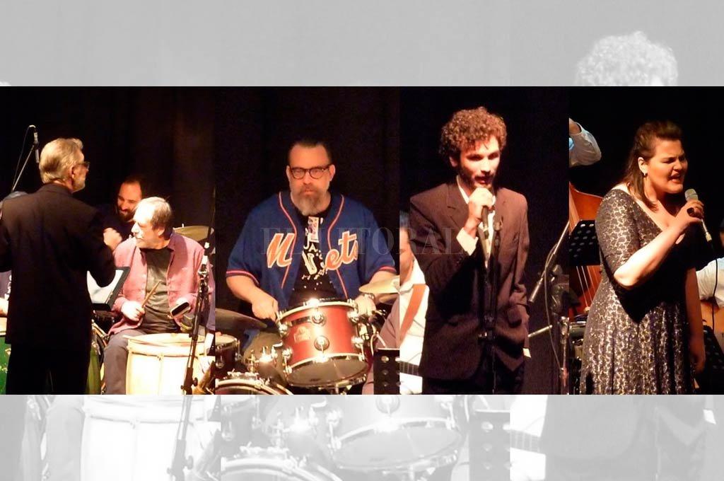 Protagonistas: Pedro Casís de Santa Fe Jazz Ensamble con Juancho Perone en la MusiMedios Big Band; Pepo Bianucci, coordinador de la NEA Big Band; Joaquín Cichello, director de la Kaiser Big Band, con Flopa Suksdorf como cantante invitada. <strong>Foto:</strong> IAA