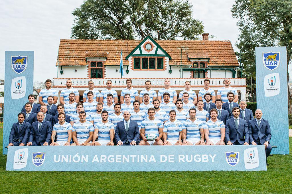 La foto oficial del plantel de Los Pumas que representará a la Argentina en el Mundial de Rugby.  Crédito: Prensa UAR