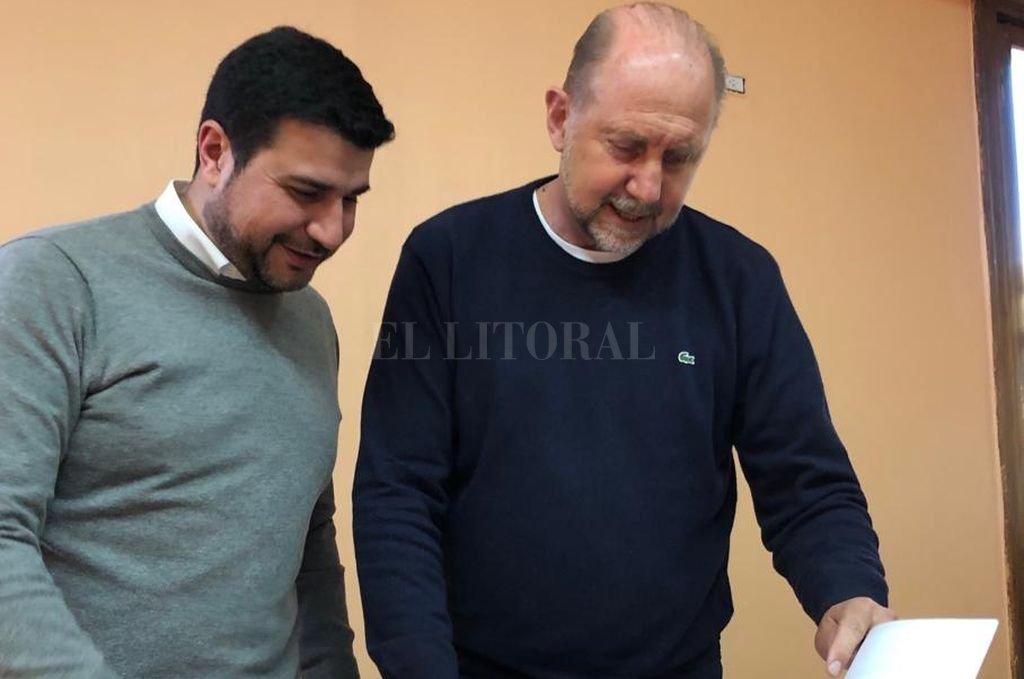 Marcos Cleri junto a Omar Perotti en Rosario.  <strong>Foto:</strong> El Litoral