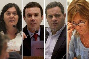Concejo: chicanas y reclamos políticos tras la escalada de violencia y muerte - De izquierda a derecha. Alejandra Obeid e Ignacio Martínez Kerz (PJ); Leandro González (FPCyS) y Rossana Ingaramo (UCR-Cambiemos), entre otros, se entreveraron en la discusión. -