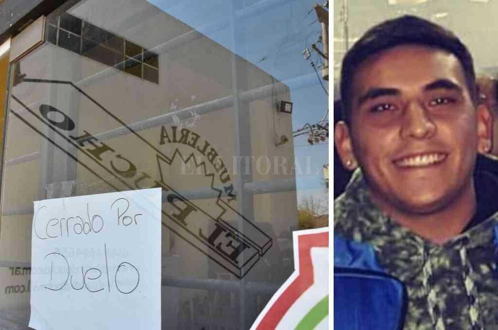 """""""Cerrado por duelo"""", decía este viernes el cartel de la mueblería El Pucho, donde trabajaba (IZQ) Maximiliano Olmos (25) iba a buscar a su novia al trabajo cuando lo atacaron. (DER) <strong>Foto:</strong> El Litoral"""