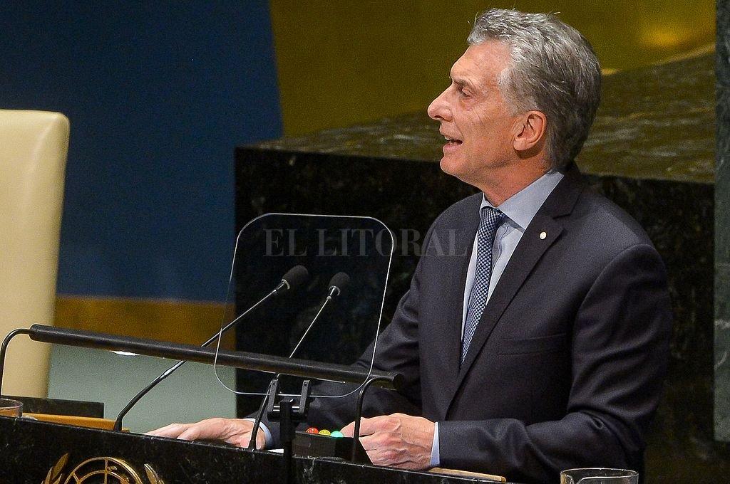 Macri durante su discurso en la Asamblea de la ONU: <strong>Foto:</strong> Telam