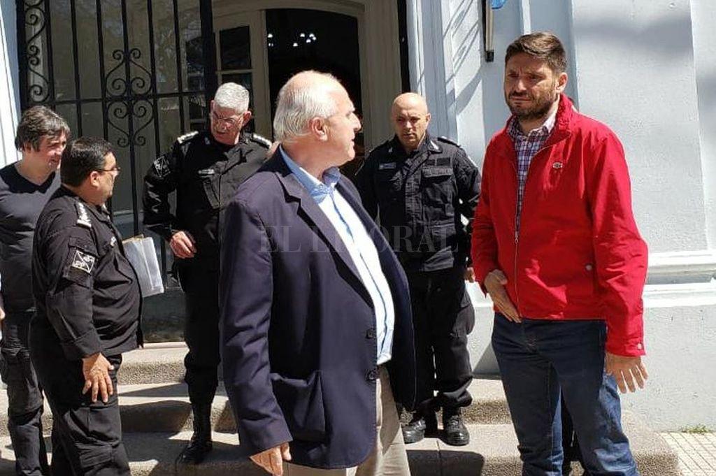 El gobernador, Miguel Lifschitz junto al ministro Maximiliano Pullaro. Crédito: Gentileza prensa gobernación