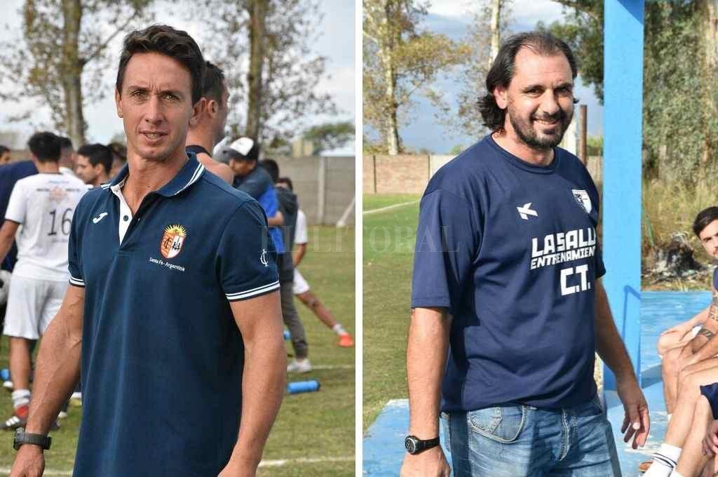 Alejandro Olivera DT de Ateneo (izq) y Martín Mazzoni DT de La Salle (der) <strong>Foto:</strong> Luis Cetraro