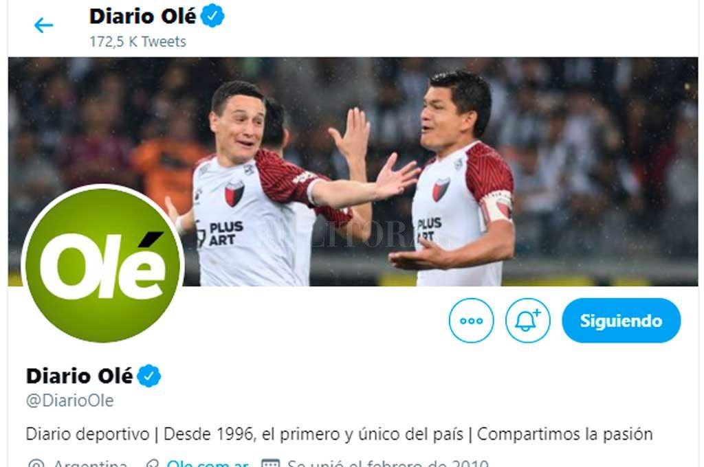 La portada de Twitter de Diario Olé, dedicada a Colón <strong>Foto:</strong> Captura de pantalla