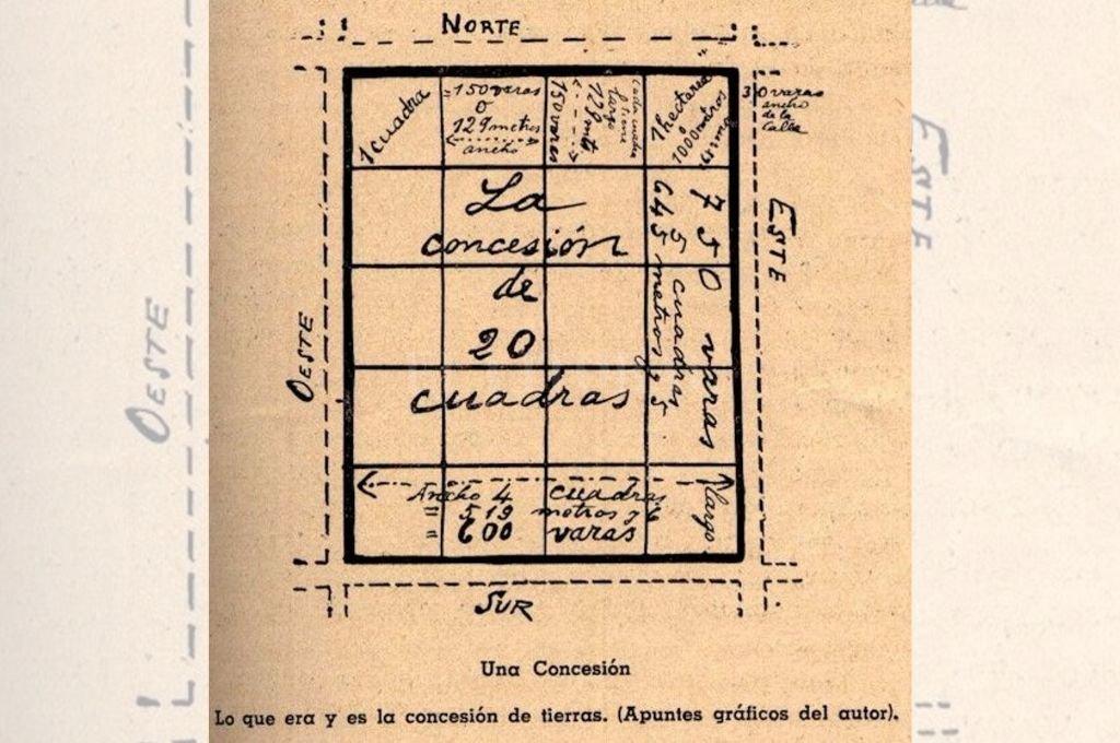Detalle de una concesión en la Colonia Esperanza con sus medidas en varas y equivalencia en metros.  <strong>Foto:</strong> Archivo El Litoral
