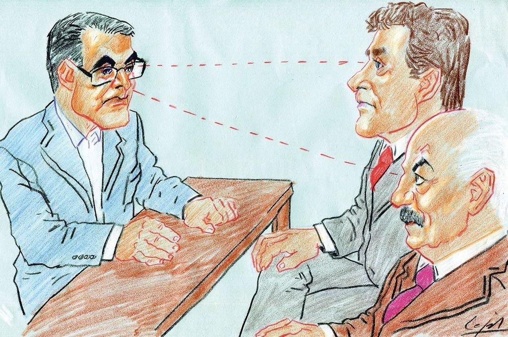 Senadores justicialistas Armando Traferri, Ricardo Kaufmann y Danilo Capitani. <strong>Foto:</strong> Ilustración: Lucas Cejas