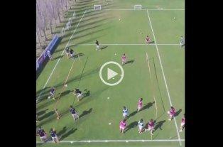 Video: Un divertido entrenamiento del plantel de Colón visto desde un drone