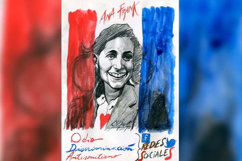 El mensaje de amor de Ana Frank, la niña que relató en un diario íntimo su supervivencia durante el Holocausto, debe pervivir en tiempos de ataques antisemitas por redes sociales. <strong>Foto:</strong> Ilustración Lucas Cejas.