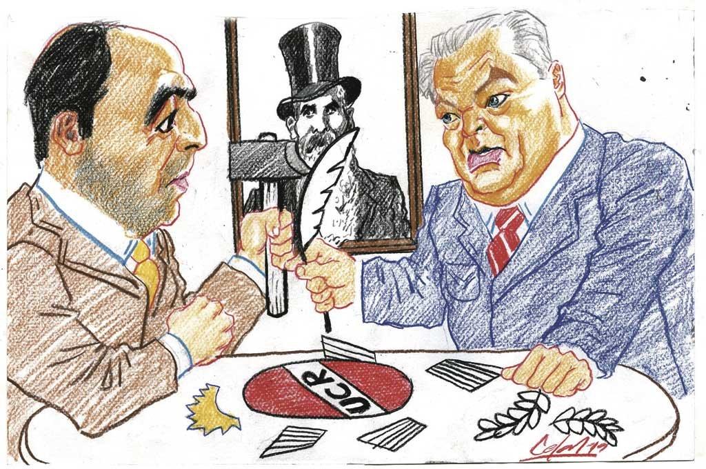 Carlos Fascendini y José Corral. <strong>Foto:</strong> Ilustración | Lucas Cejas