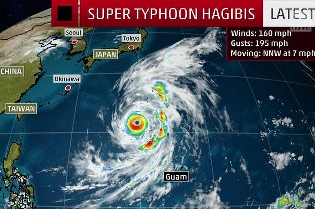 El tifón Hagibis avanza hacia Japón. Crédito: Captura digital