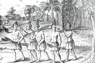 """""""Germanos en el Río de la Plata"""" - """"Abipones en camino de guerra"""", ilustración del etnólogo jesuita austríaco Martin Dobrizhoffer. -"""
