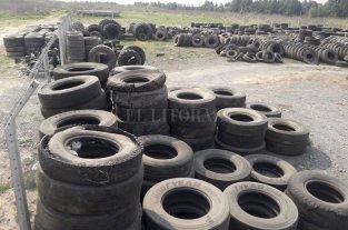 Los neumáticos de la región tienen un destino final no contaminante - Acopio. El predio sauceño ya recibe neumáticos de todo tipo. Dejarán de estar tirados en el río para convertirse en otros productos. -