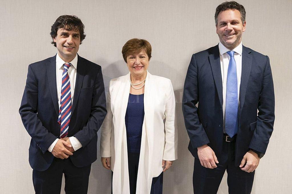 Lacunza, Georgieva y Sandleris. Crédito: Telam