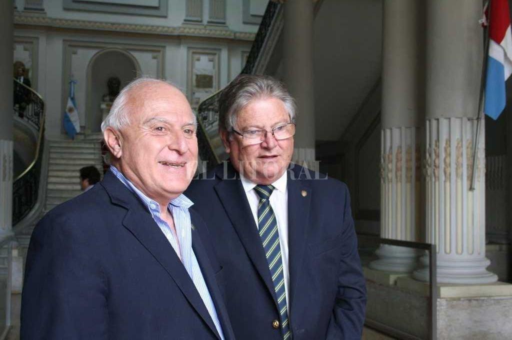 Miguel Lifschitz junto a Carlos Fascendini. Crédito: Archivo El Litoral
