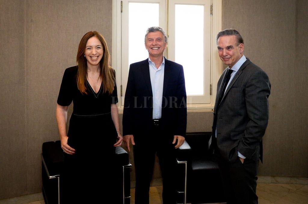 Vidal, Macri y Pichetto, antes de la reunión del gabinete ampliado. Discursos de cierre de gestión y preparatorios de lo que se viene. Crédito: Télam