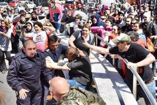 Incidentes en una movilización docente en Chubut