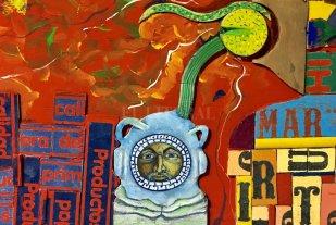"""Concepciones contrapuestas - Obra de Abel Monasterolo, de la muestra """"Rio das mortes vira vermelho"""". -"""