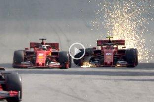 Video: Así fue el choque entre las Ferrari de Vettel y Leclerc en Interlagos - Momento en el que los pilotos de la escudería de Maranello se tocan en la recta opuesta de Interlagos. Los dos quedaron afuera. -