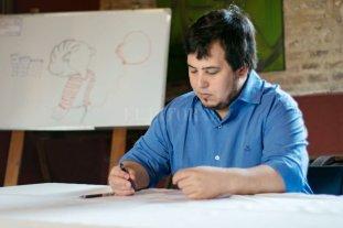 """""""Dibujar es mi manera de comunicarme""""  - El artista paceño, radicado en Santa Fe, se inspira en la vida cotidiana para trazar sus viñetas. -"""