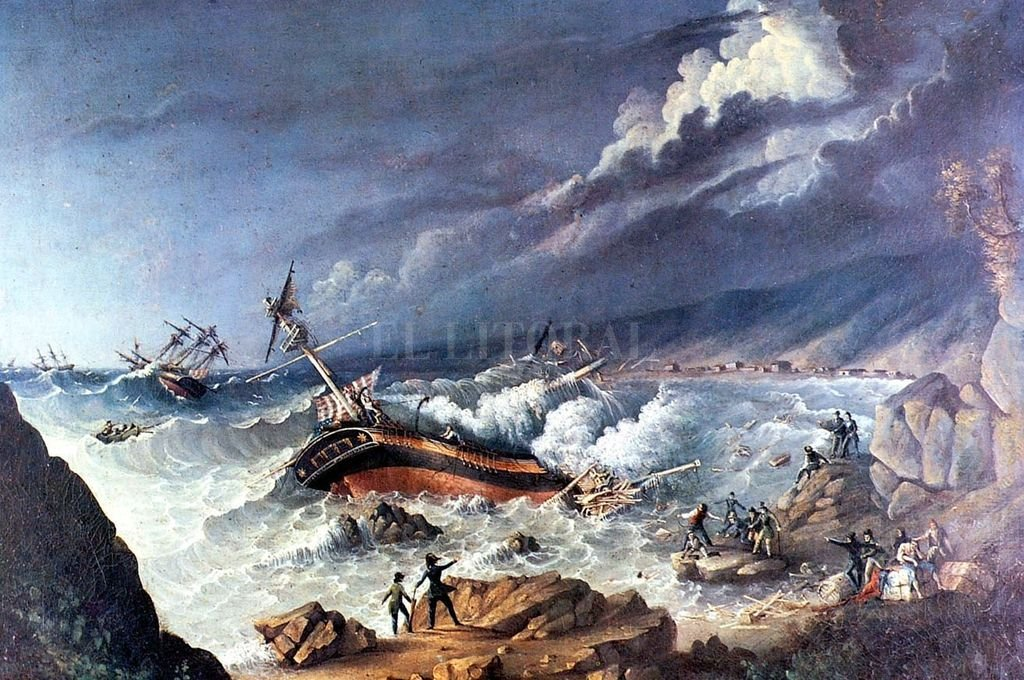 """El naufragio del """"Arethusa"""", de Charles C. Wood Taylor. Crédito: Archivo"""