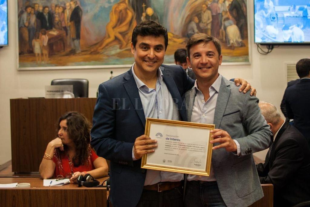 Rodrigo Villarreal, titular de la productora de contenidos audiovisuales, junto al presidente del cuerpo, Sebastián Pignata. <strong>Foto:</strong> Gentileza