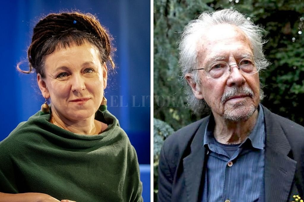 Olga Tokarczuk y Peter Handke. <strong>Foto:</strong> Captura digital