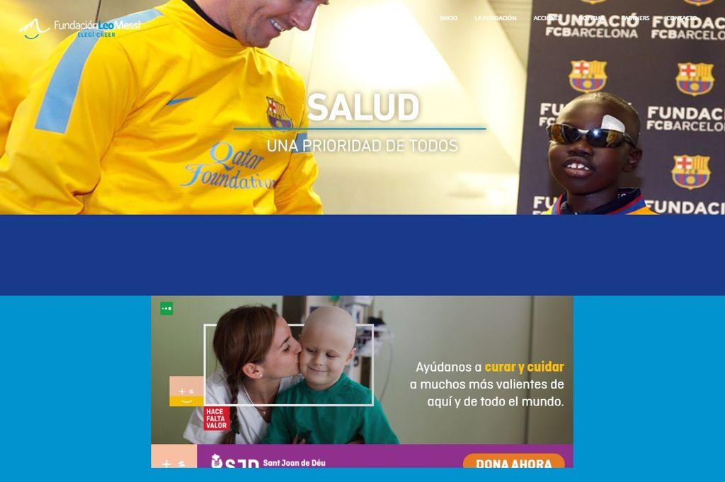 EL SITIO WEB de la Fundación Leo Messi, donde figuran las acciones que se realizan y los canales para donar. <strong>Foto:</strong> Captura de pantalla.