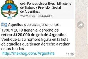 Alerta por nueva estafa en Whatsapp: prometen 120 mil pesos -  -