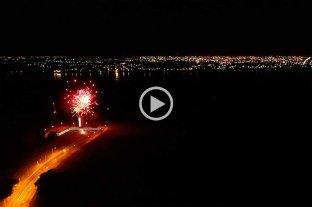 Desde el drone de El Litoral: los fuegos artificiales para festejar los 50 años del Túnel Subfluvial