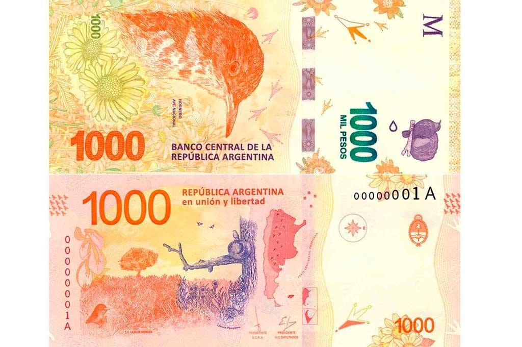 En la actualidad el billete de $ 1000 es el de mayor denominación en el país.  Crédito: Archivo El Litoral