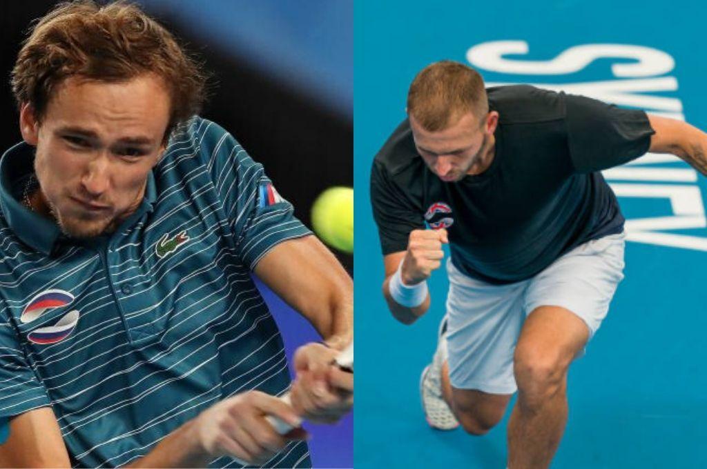 Daniil Medvedev (Rusia) y Daniel Evans (Gran Bretaña), referentes de sus selecciones.   Crédito: Gentileza