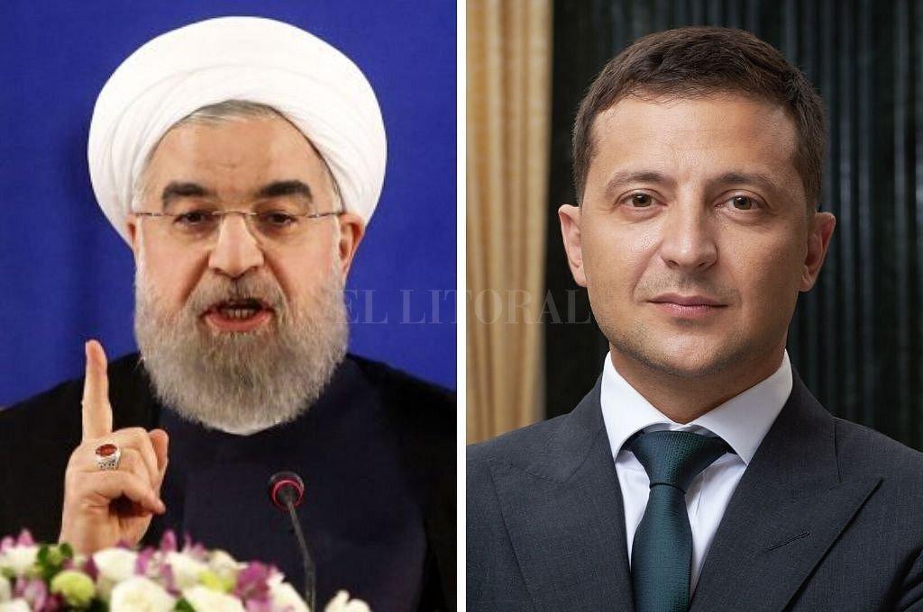 Los presidentes de Irán, Hasan Rohaní, y de Ucrania. Vladímir Zelenski. Crédito: Captura digital