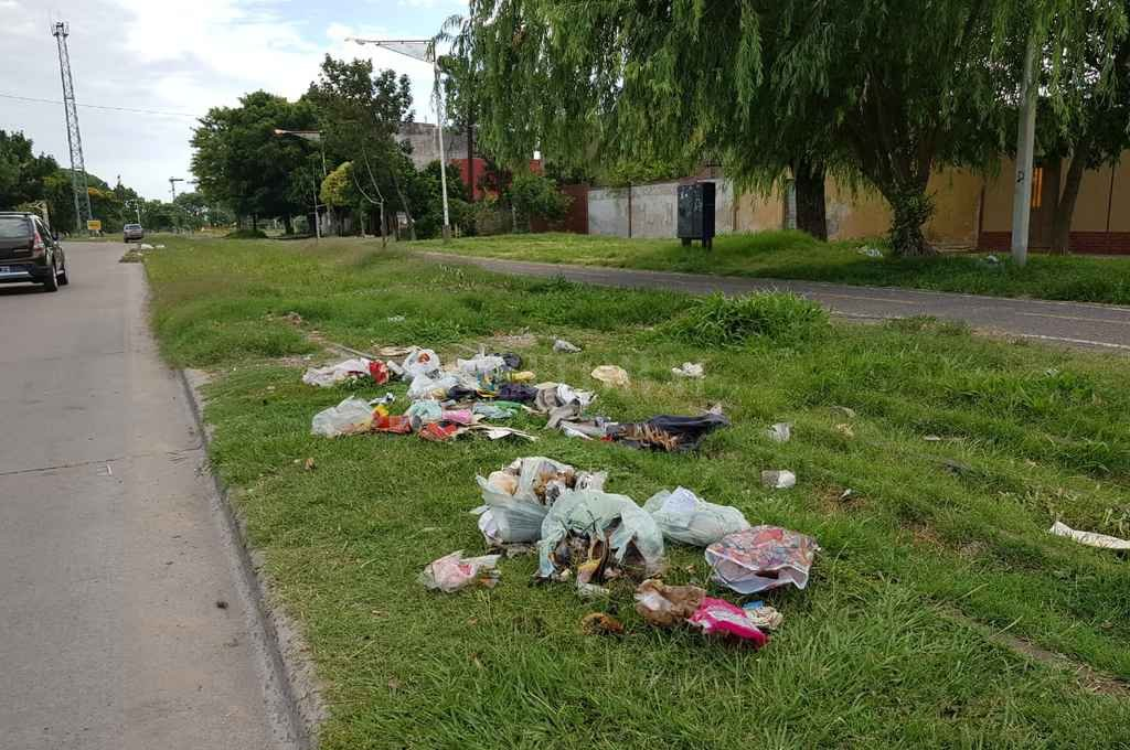 A metros del inicio del Parque Federal, a la vera de Pedro Víttori, se acumula basura en la vía pública. <strong>Foto:</strong> El Litoral