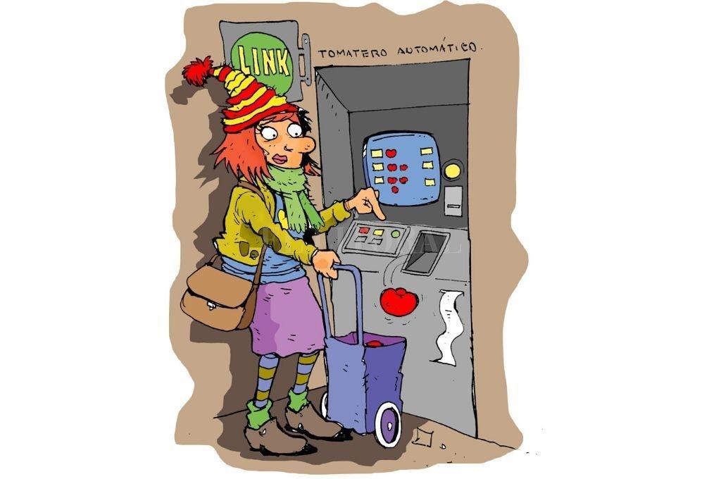 Banco y supermercado sin la intermediación de los aparatos.  Crédito: Ilustración Luis Dlugozewski
