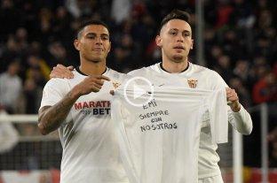Lucas Ocampos marcó en la victoria de Sevilla y homenajeó en el festejo a Emiliano Sala